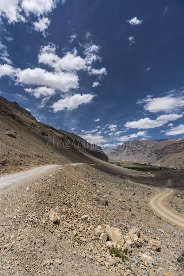 Landscape of Sandy Roads in Himalayas royalty free stock image
