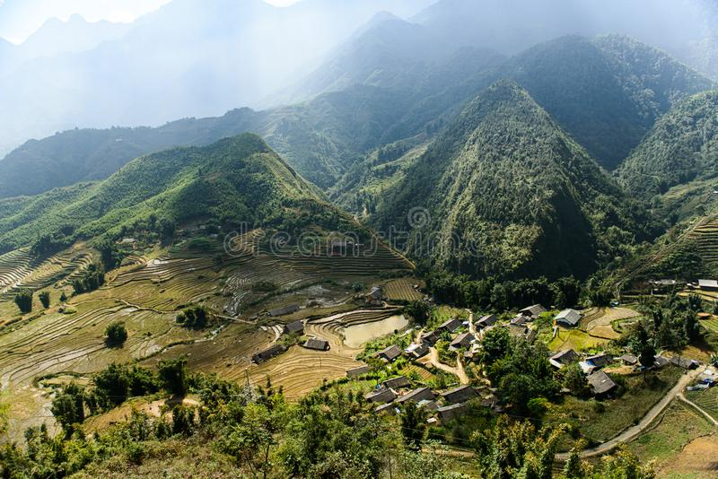 Landscape of Sapa, Vietnam. Small, mountain town in Vietnam. Mountains with rice fields royalty free stock photos
