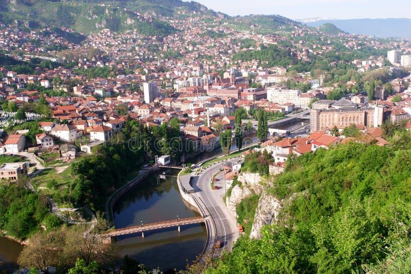 landscape sarajevo view arkivfoton