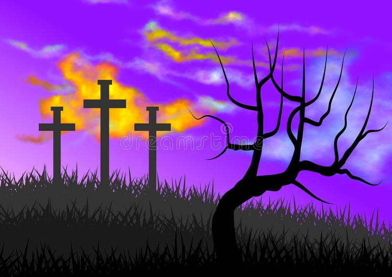 Landscape with scene of Calvary, with the symbolism of the crucifixion of Jesus. Illustration royalty free illustration