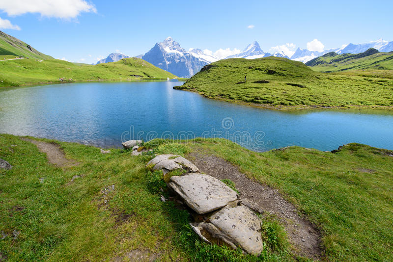 Landscape Scene from First to Grindelwald, Bernese Oberland, Switzerland stock photography