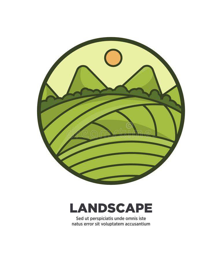 Landscape scenery design with green fields and hills web button stock illustration