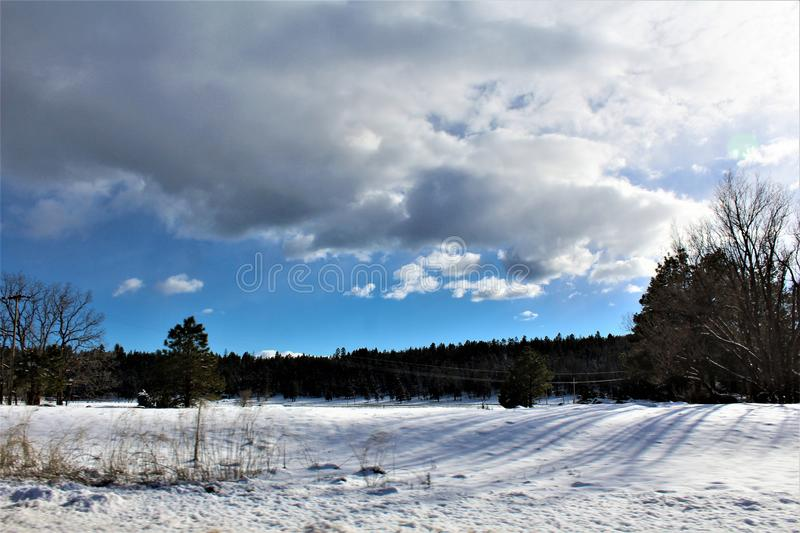 Landscape Scenery, Interstate 17, Flagstaff to Phoenix, Arizona, United States. Spring landscape scenery view of the mountains and area vegetation from royalty free stock photos