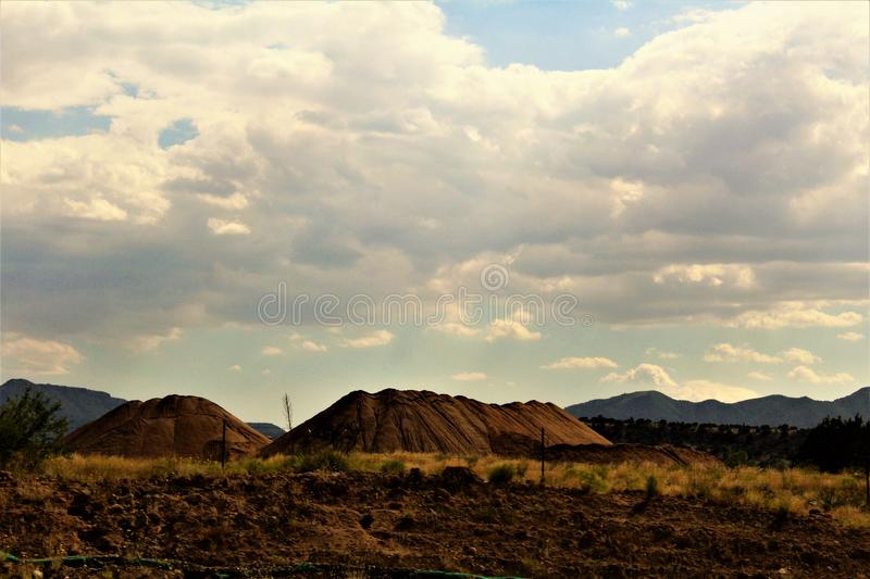 Landscape scenery Jerome and Phoenix, Maricopa County, Arizona, United States. Scenic landscape view of the mountains and desert vegetation located between royalty free stock photography