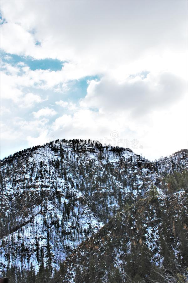 Landscape Scenery, Maricopa County, Oak Creek Canyon, Arizona, United States. Spring landscape scenery view of the mountains and area vegetation from Oak Creek stock photography