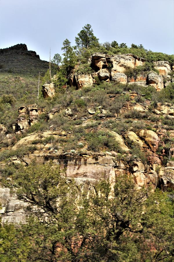 Landscape Scenery, Maricopa County, Oak Creek Canyon, Arizona, United States. Spring landscape scenery view of the mountains and area vegetation from Oak Creek royalty free stock image