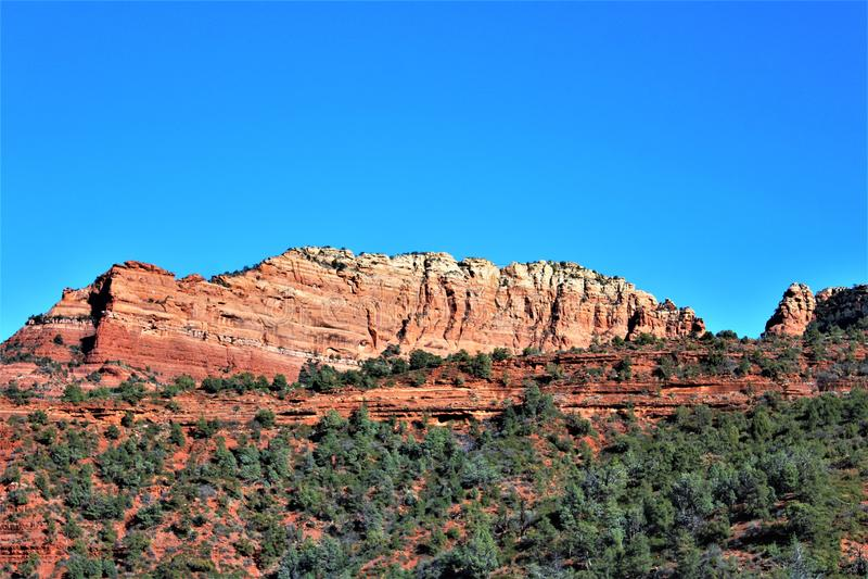 Landscape scenery Maricopa County, Sedona, Arizona, United States. Scenic landscape view of the mountains and desert vegetation located in Sedona, Arizona royalty free stock photography