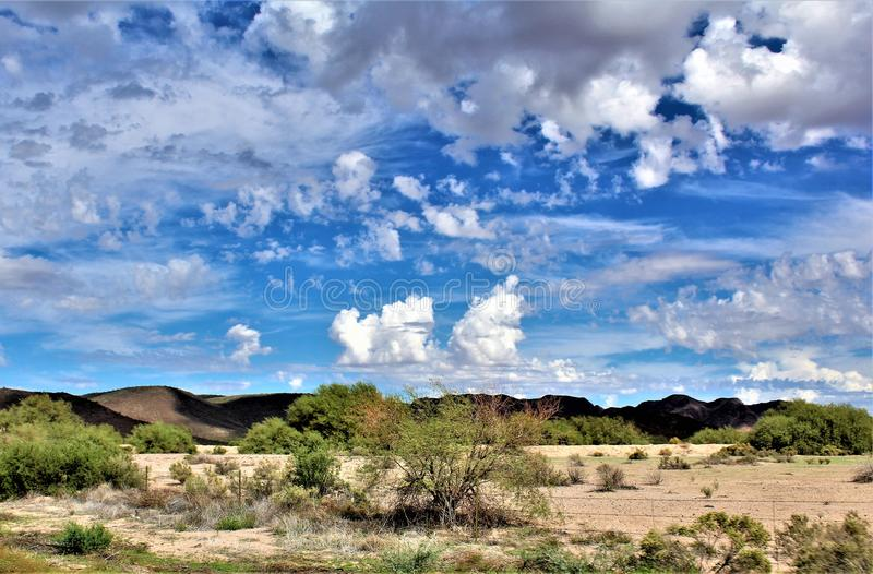 Landscape scenic view from Maricopa County, Mesa, Arizona to Pinal County, Florence Junction, Arizona. stock photo