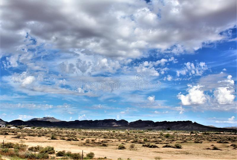 Landscape scenic view from Maricopa County, Mesa, Arizona to Pinal County, Florence Junction, Arizona. stock photo