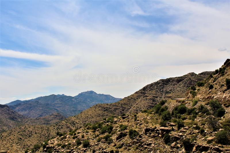 Mount Lemmon, Santa Catalina Mountains, Coronado National Forest, Tucson, Arizona, United States. Landscape scenic view with mountains and vegetation at Mount stock images