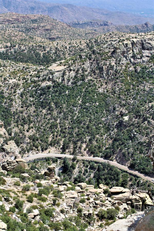 Windy Point Vista, Mount Lemmon, Santa Catalina Mountains, Lincoln National Forest, Tucson, Arizona, United States. Landscape scenic view with mountains and royalty free stock images