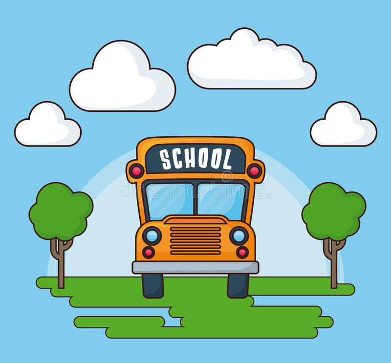 Back to school design. Landscape with school bus icon, colorful design vector illustration vector illustration