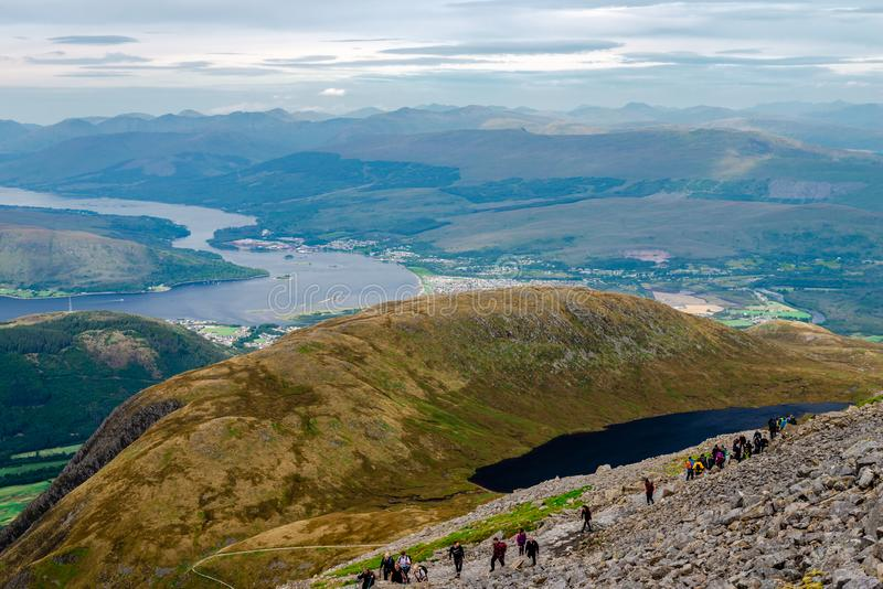 Landscape of the Scottish highlands, from Ben Nevis. royalty free stock photography
