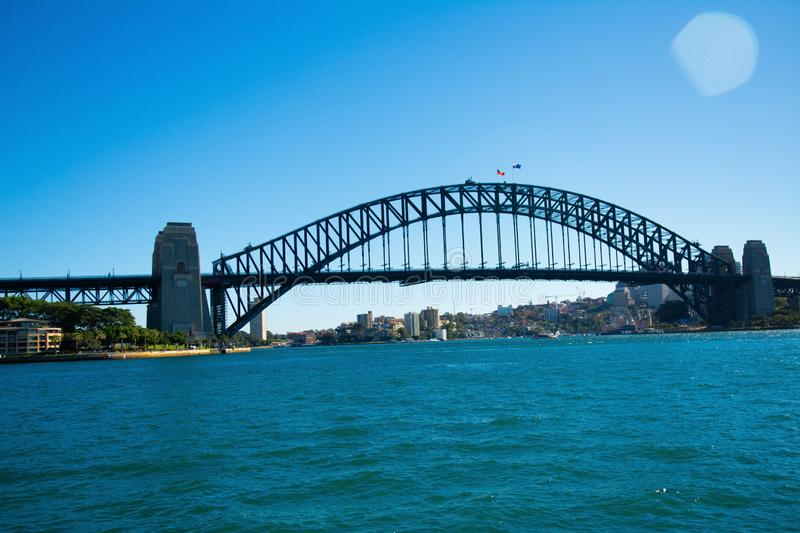 Landscape of sea with a big bridge and a modern city on the background under a blue sky stock photography