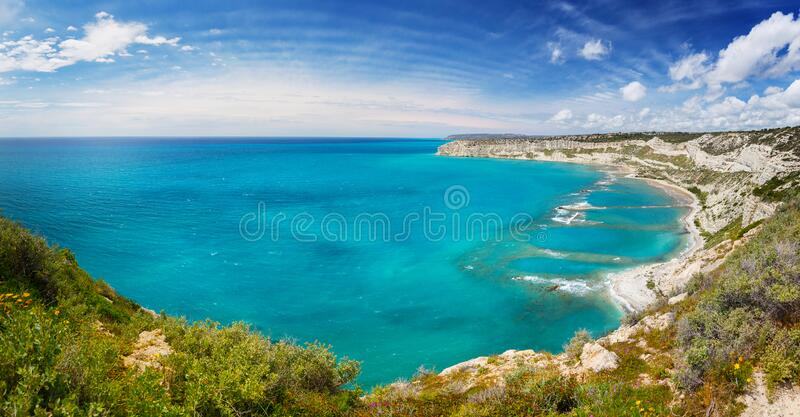Landscape with sea and blue sky, Cyprus royalty free stock photo