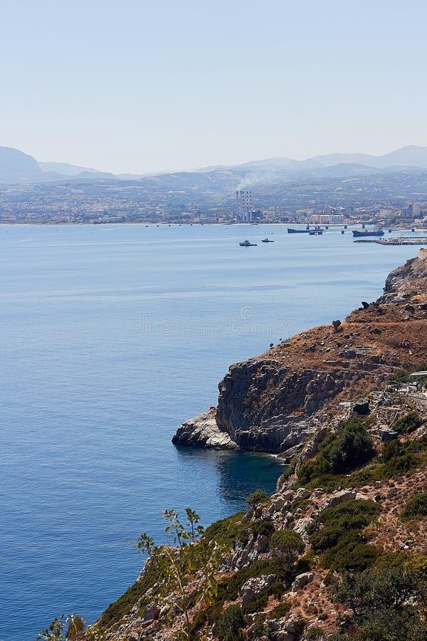 Landscape of sea coast in Crete island near Rethymno, Greece. Beautiful landscape of sea coast in Crete island near Rethymno, Greece stock photos