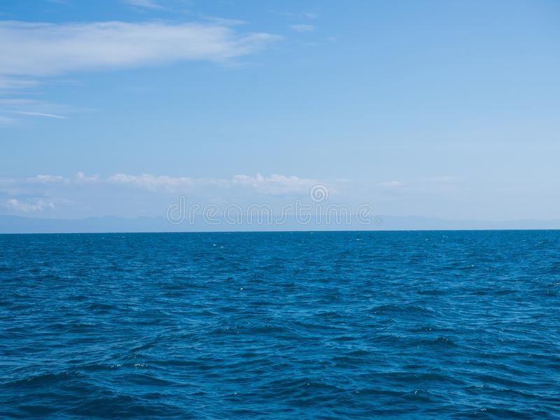 Landscape of sea horizon seascape under blue sky.  royalty free stock photos