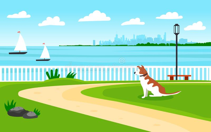 Landscape by the sea. Seafront. The dog looks into the distance to the shore. View of the metropolis. Sailing boats. Editable vector illustration royalty free illustration