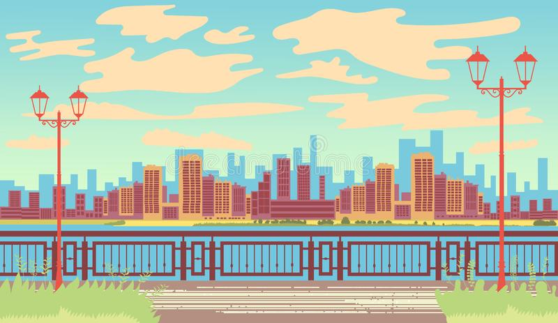 Landscape by the sea. Seafront. First line. Retro landscape. View of the metropolis. Vector editable illustration stock illustration