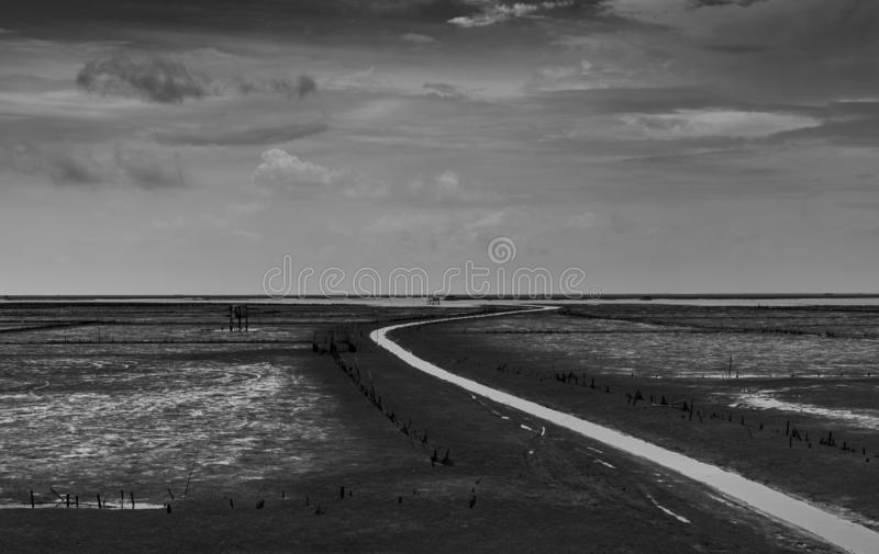 Landscape of sea at tide and grey sky and white clouds along the winding water canal. Mud flat at coast. Black and white picture. Of nature background. Hopeless stock photos