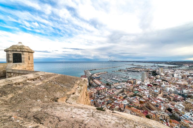 The landscape of the seaside resort city of Alicante, Spain. The landscape of the seaside resort city of Alicante from the walls of the Santa Bárbara Castle royalty free stock images