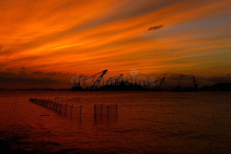 Landscape of Shenjiamen fishing port. Shenjiamen,a fishing port and seafood centernnLocated in the southeast of Zhoushan Archipelago, Shenjiamen, nicknamed Small stock photography