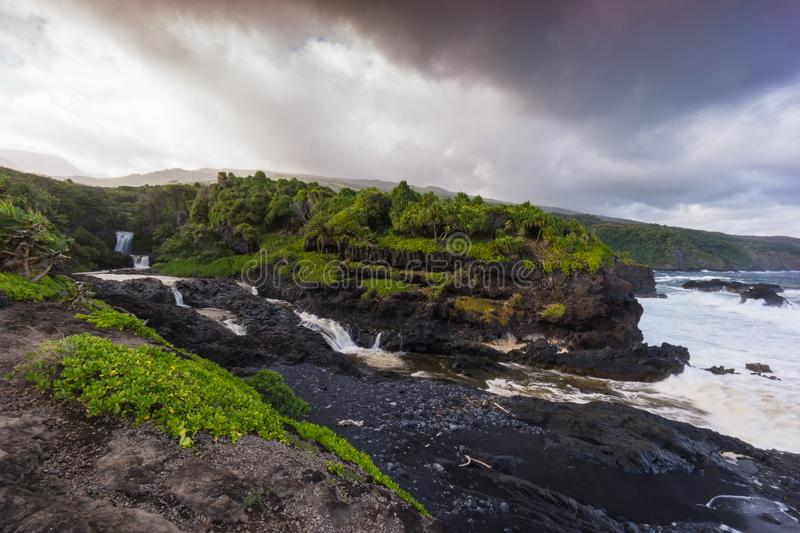 Maui, Hawaii, Coastline and waterfall stock photo