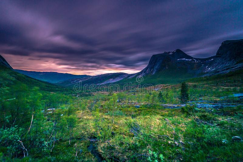 Landscape shot of a wild valley on the Lofoten Islands, Norway stock photography