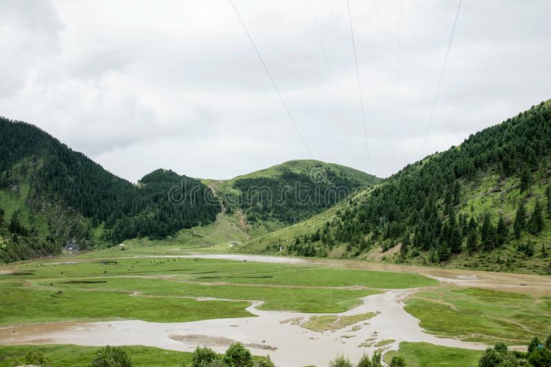 Landscape on the Sichuan highway in China stock photo