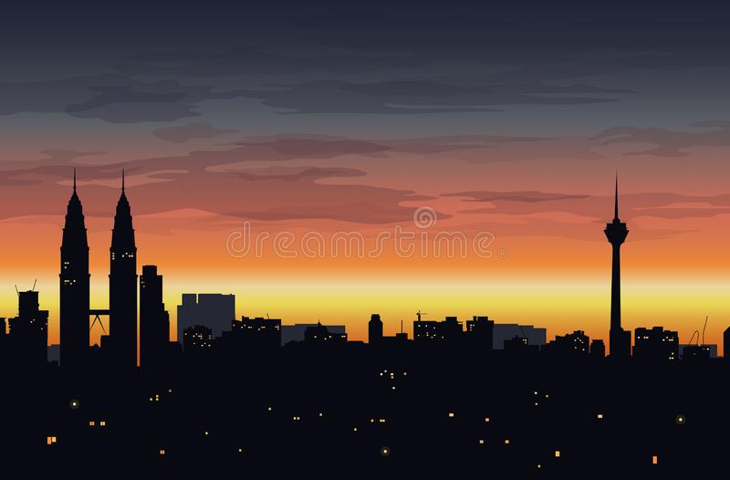 Landscape with silhouette of big city buildings and sunset sky in the background - vector illustration royalty free illustration
