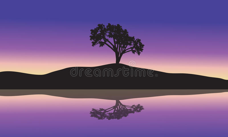 Landscape with silhouette of a single tree. In a hill at sunset stock illustration