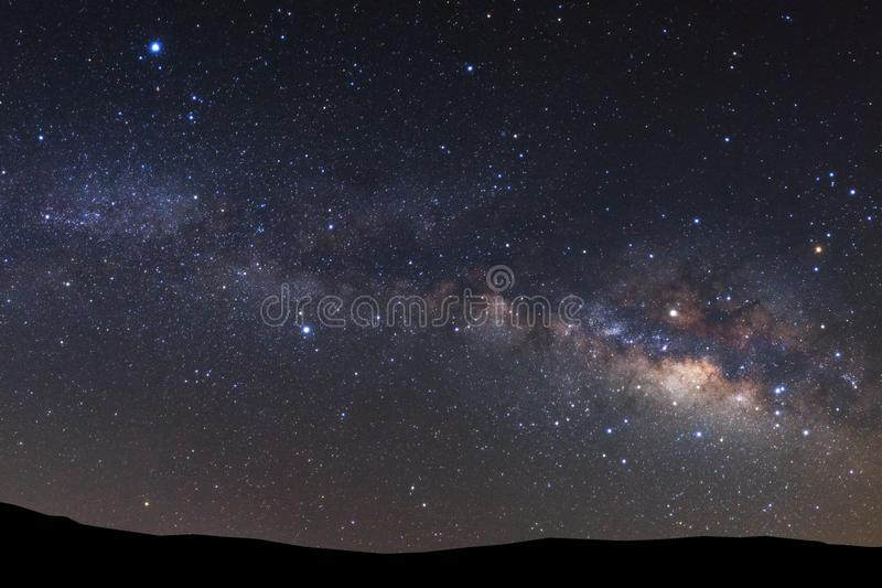 Landscape with milky way, Night sky with stars and silhouette high mountain. Landscape silhouette of tree with milky way galaxy and space dust in the universe royalty free stock photography