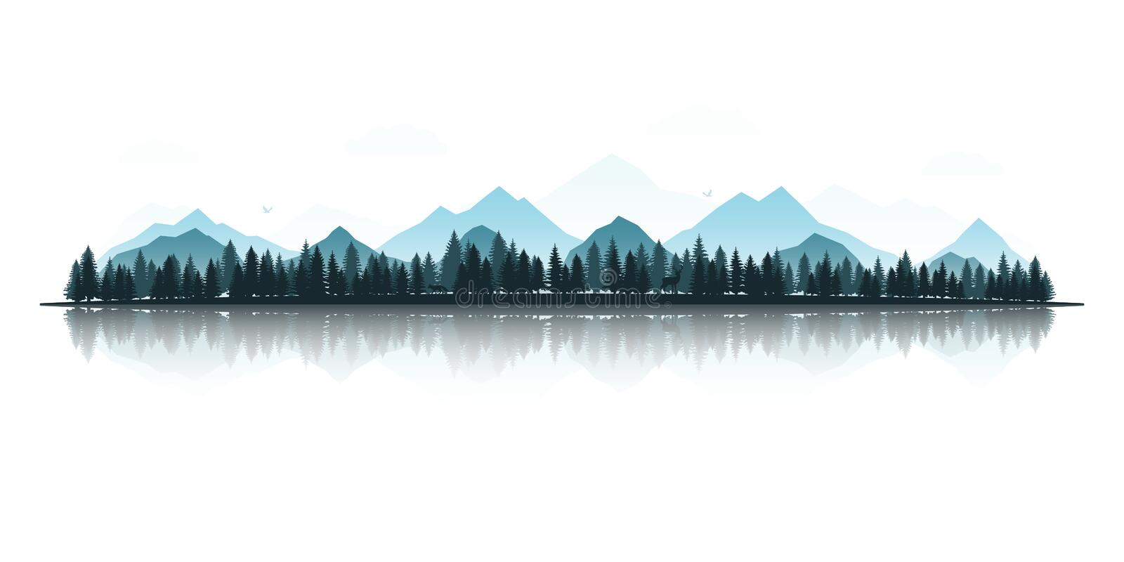 Landscape with silhouettes of deer, fox, eagles, mountains and forests. vector illustration