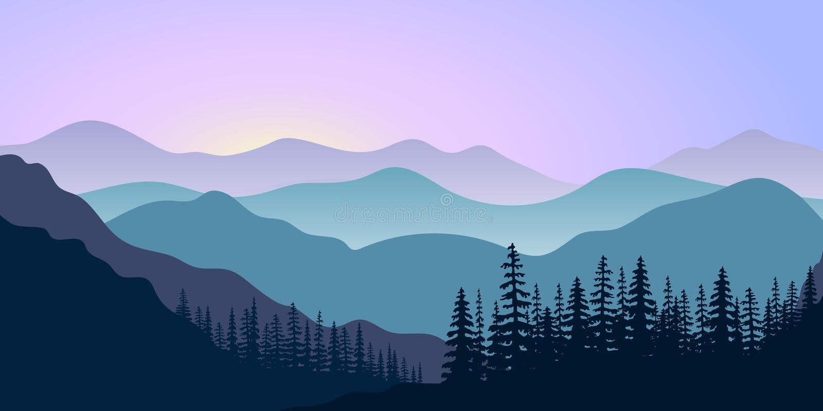 Landscape with silhouettes of mountains and forest at sunrise. Vector illustration stock illustration