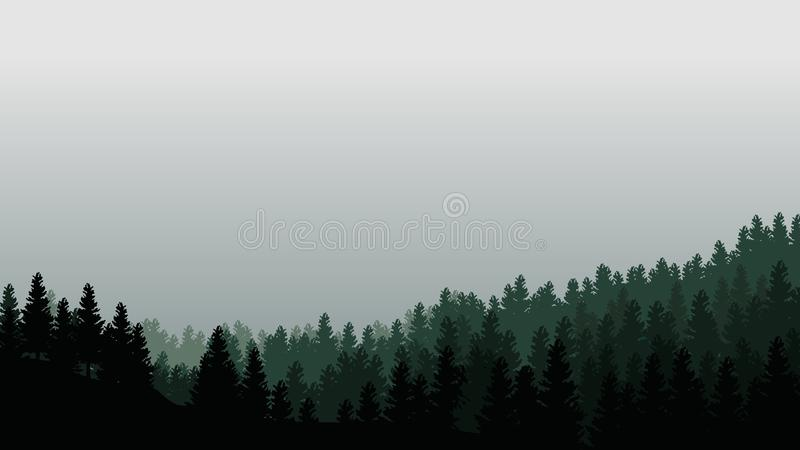 Landscape with silhouettes of trees in misty forest and light grey sky - vector illustration royalty free illustration