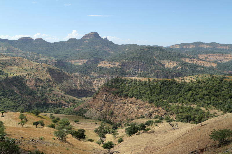 Landscape of the Simien mountains in Ethiopia stock photo