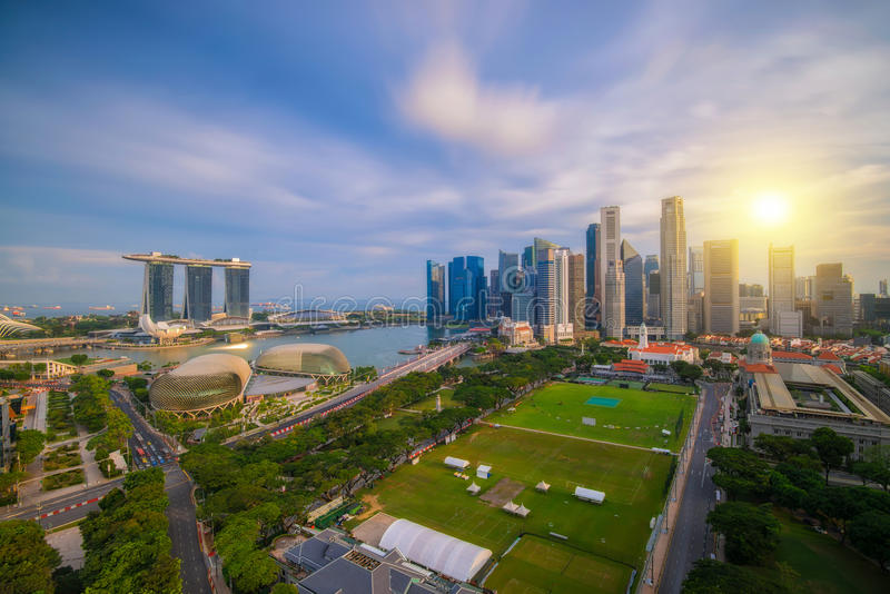 Landscape of Singapore business district. In day morning time, Singapore Skyline stock photo