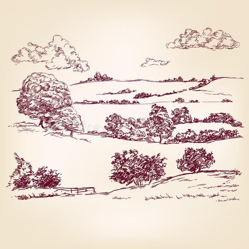 Landscape sketch drawing. Landscape hand drawn vector llustration sketch royalty free illustration