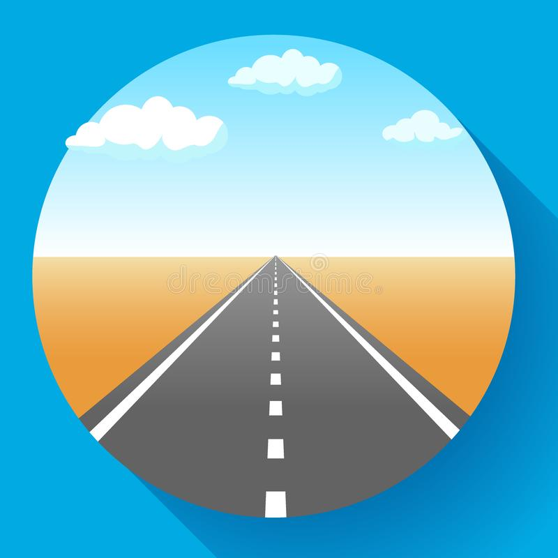 Landscape with sky and clouds, land and asphalt road with marking, empty highway in desert, vector illustration. vector illustration