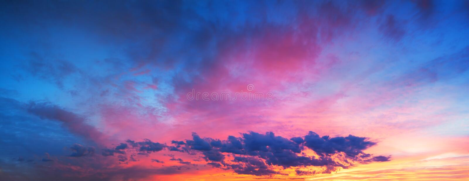 Landscape with sky, clouds and sunrise a panoramic view royalty free stock photography