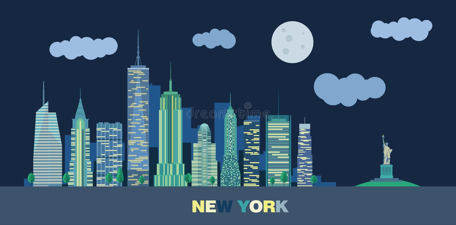 The landscape of skyscrapers of night New York City royalty free stock image