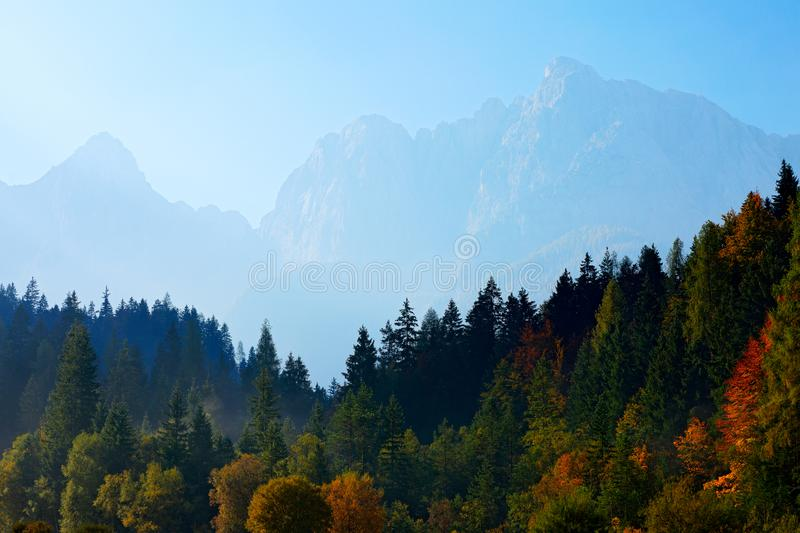 Landscape in Slovenia, nature in Europe. Foggy Triglav Alps with forest, travel in Slovenia. Beautiful sunrise with blue sky, royalty free stock photography