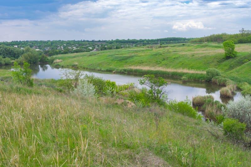Landscape with small lake near Zeleny Gai village near Dnipro city, Ukraine royalty free stock images