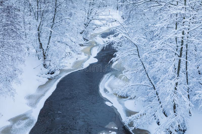 The landscape of the small river or the brook in the beautiful winter forest or in the park. Among the trees under the snow, ice and hoar stock image