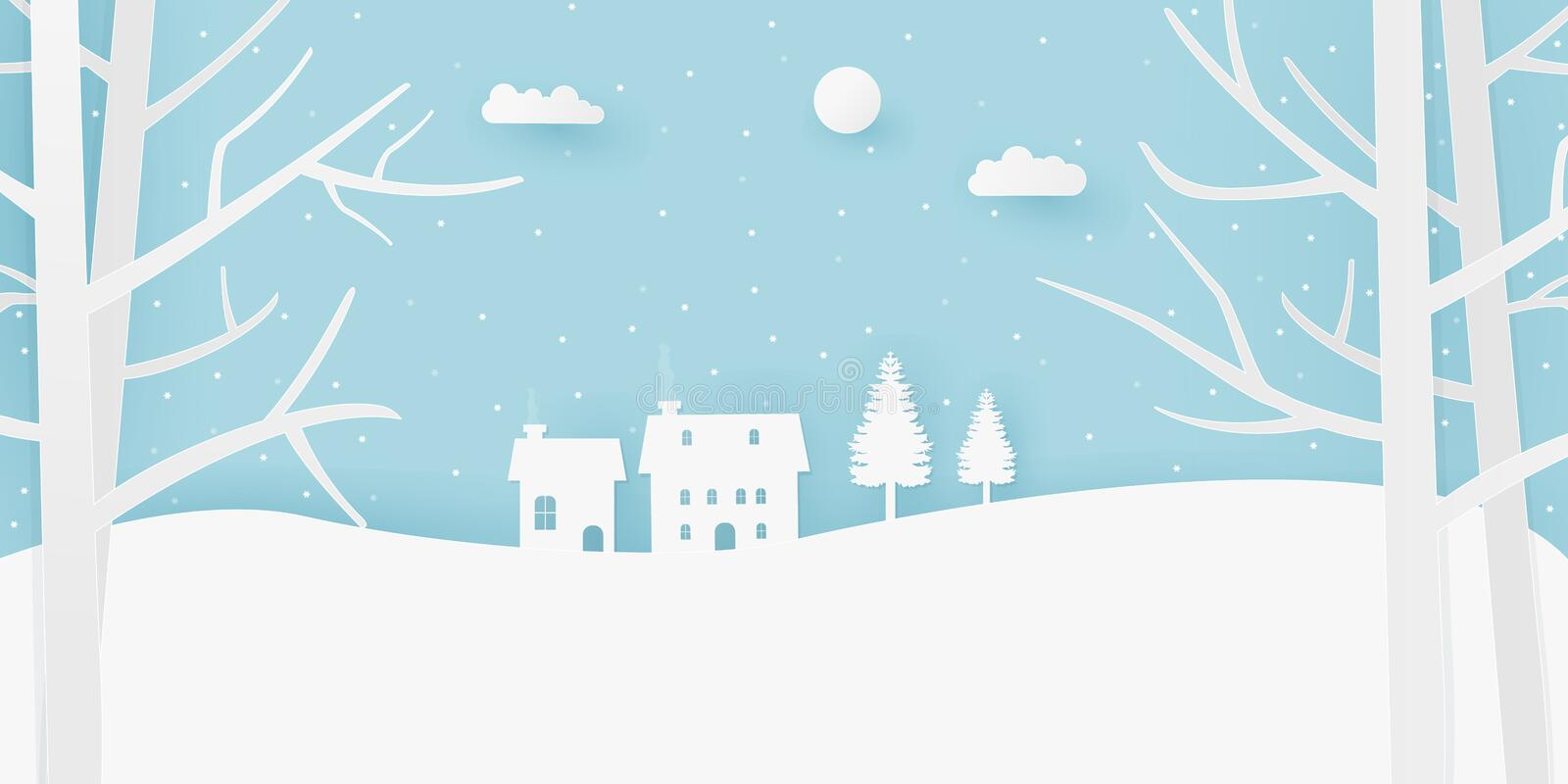 Landscape snowy scenery paper art illustration style design with tree, cloud, sun and houses. stock photography