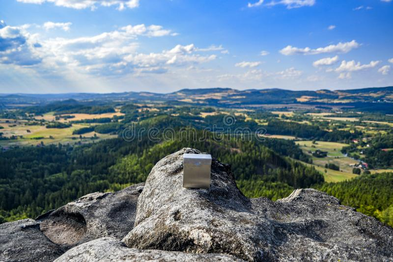Landscape of Sokoliki, rock climbing area in Poland.  stock images