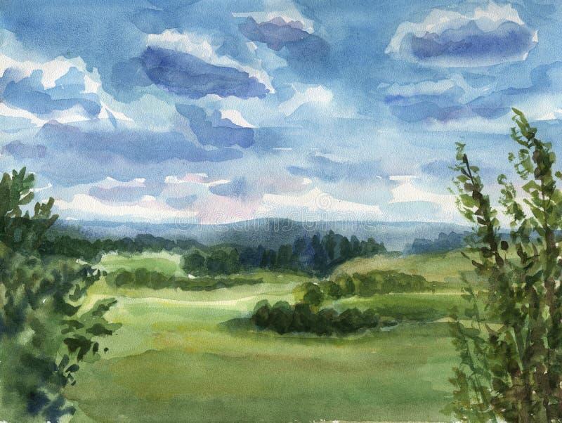 landscape sommaren royaltyfri illustrationer