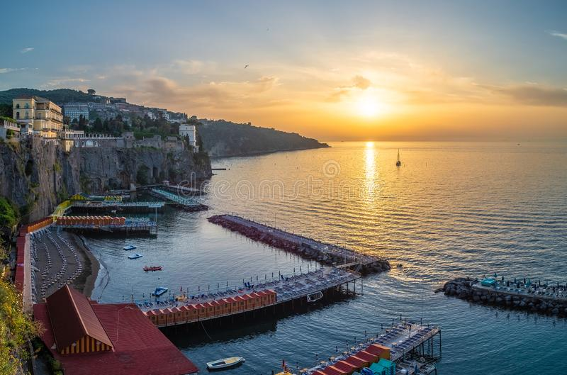 Landscape with Sorrento at sunset stock photography