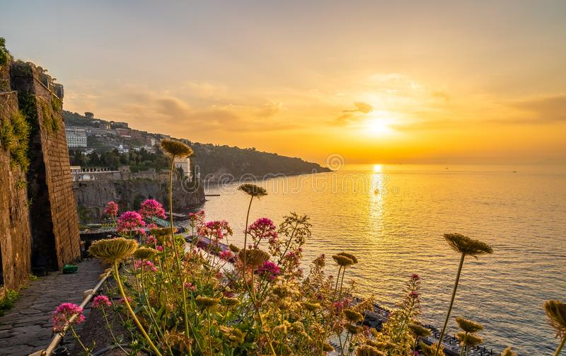 Landscape with Sorrento at sunset stock photos
