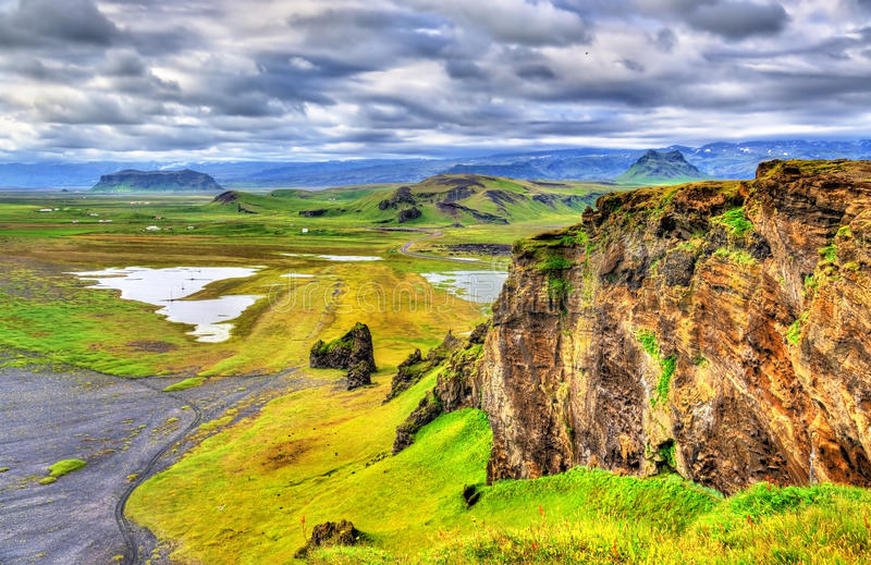 Landscape of South Iceland seen from Dyrholaey Peninsula. Landscape of South Iceland as seen from Dyrholaey Peninsula royalty free stock image
